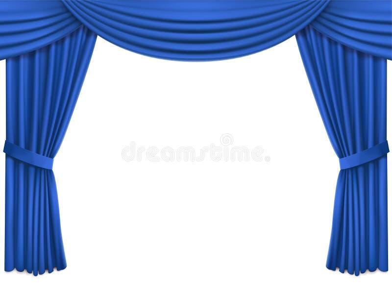 与豪华蓝色丝绸天鹅绒帷幕和lambrequin的背景 库存例证