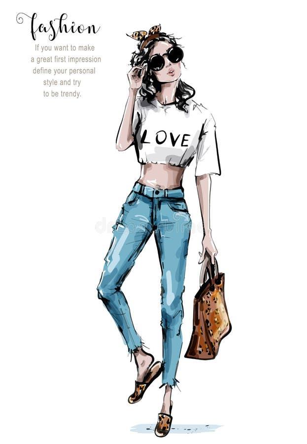 与豹子印刷品的手拉的美丽的年轻女人藏品袋子 太阳镜的时髦的女孩 r 女性成套装备 向量例证