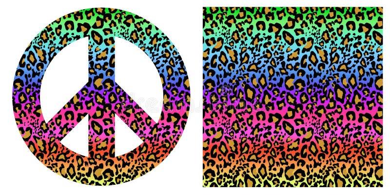 与豹子印刷品的时兴的五颜六色的无缝的背景和嬉皮和平标志 纺织品的,墙纸,t shir时尚设计 库存例证