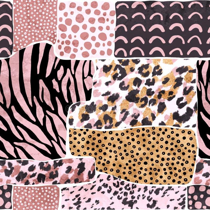 与豹子的几何背景察觉了毛皮模仿,斑马条纹,在脸大金黄箔柔和的淡色彩的创造性的野猫玫瑰华饰 向量例证