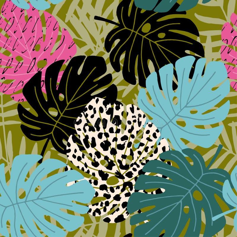 与豹子的热带棕榈和monstera叶子无缝的样式剥皮纹理 夏威夷设计,传染媒介例证 库存例证