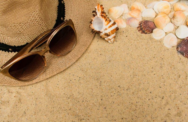与贝壳、妇女的海滩帽子和太阳镜的暑假概念在沙子背景 图库摄影