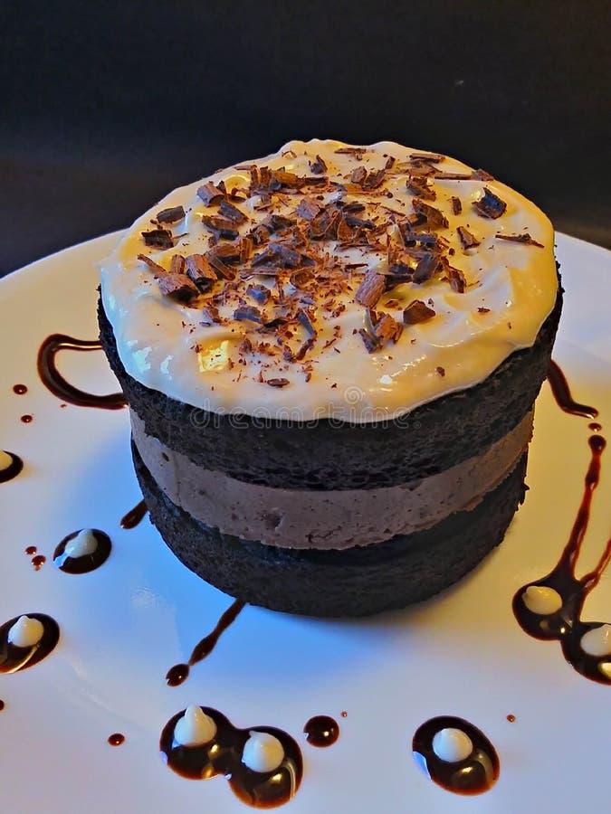 与贝里的爱尔兰奶油色乳酪蛋糕层数的吉尼斯壮健啤酒巧克力蛋糕  免版税库存照片