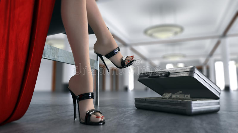 与货币性坐的妇女和盒的企业概念  向量例证