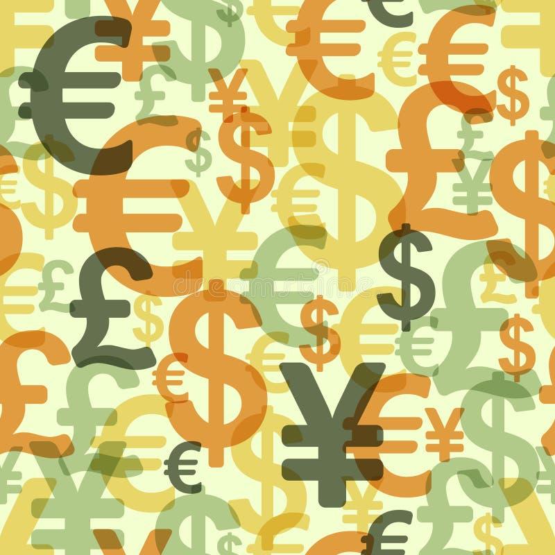 与货币的抽象无缝的模式 向量例证