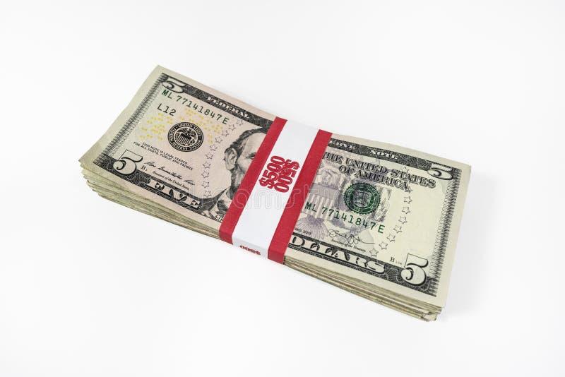 与货币皮带的五美元票据 库存图片