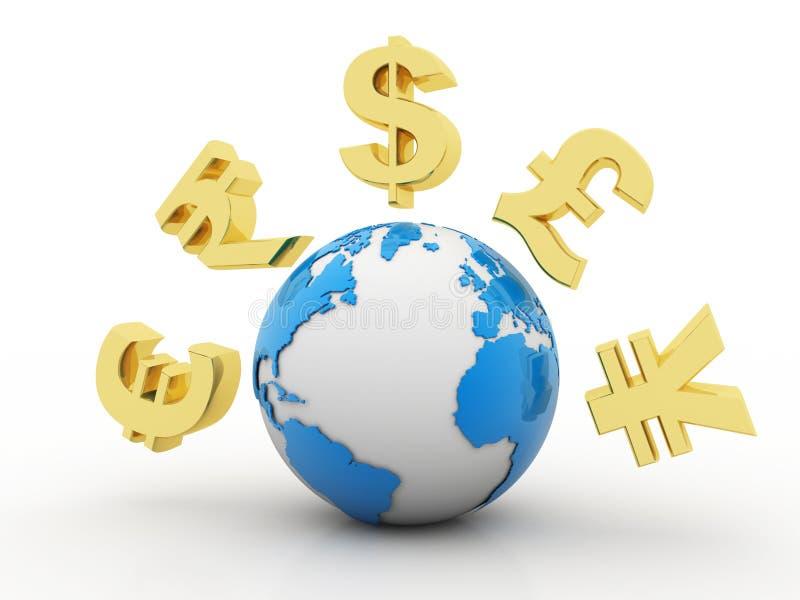 与货币符号的地球在白色背景中 库存例证