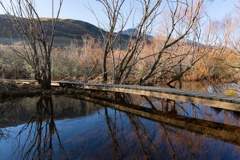与贫瘠树和山的木小径河流桥渡风景 库存照片