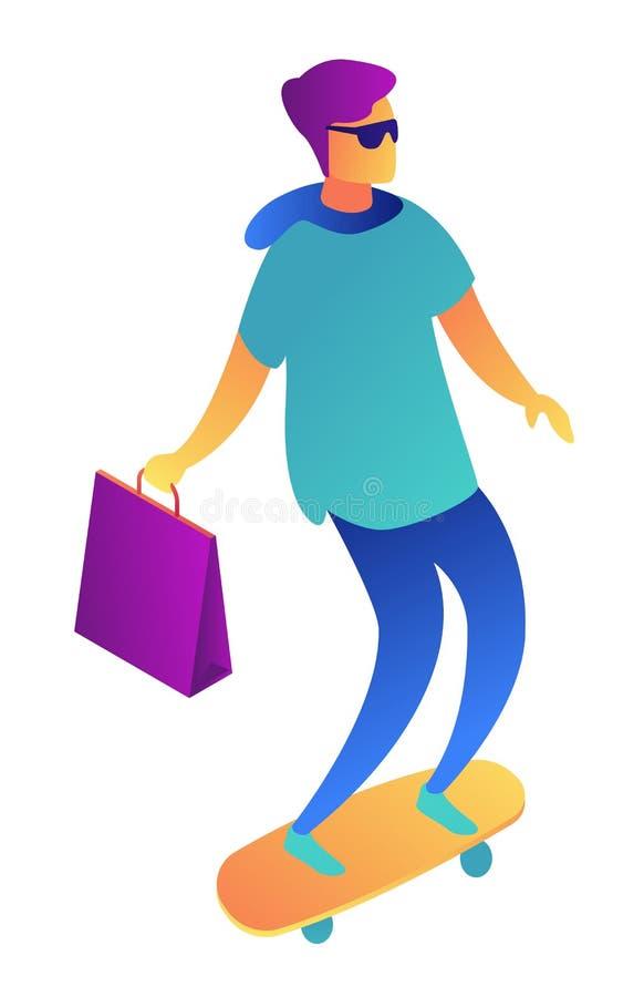 与购物带来的年轻商人在滑板等量3D例证 向量例证