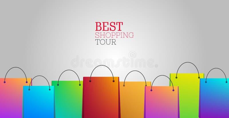 与购物带来的最佳的购物的游览背景 向量例证