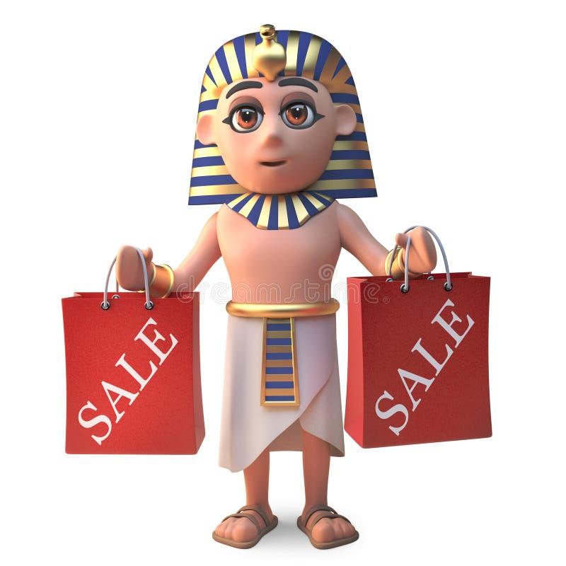 与购物带来的滑稽的埃及pharoaoh图坦卡蒙,3d例证 皇族释放例证