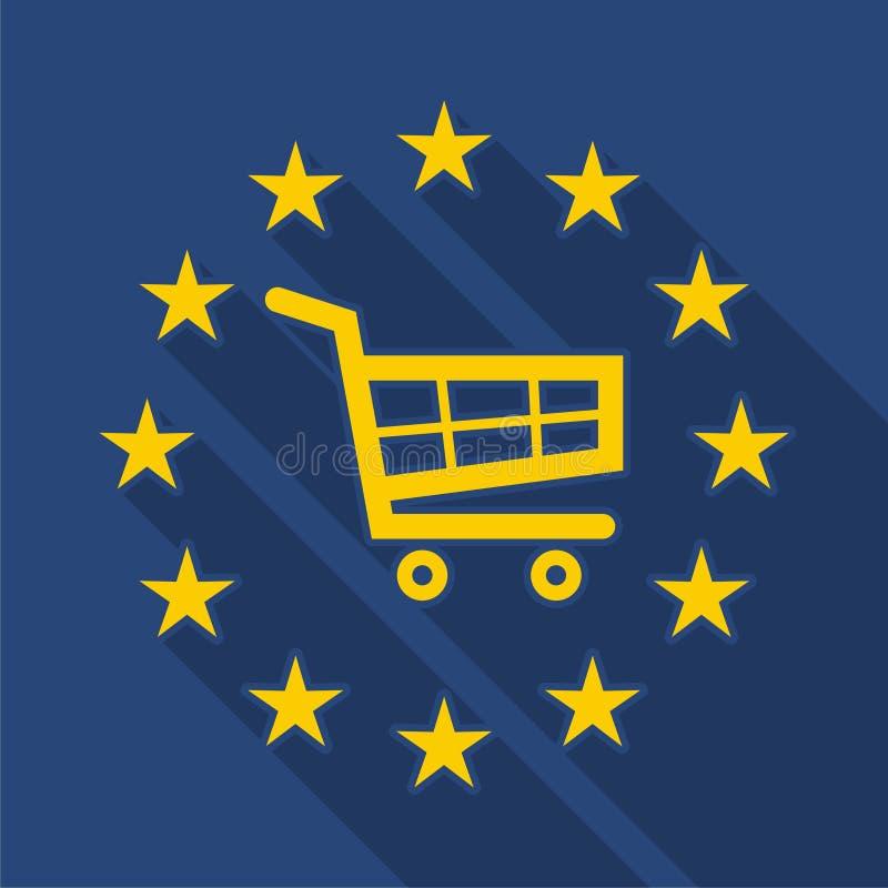 与购物车的欧盟长的阴影旗子 向量例证