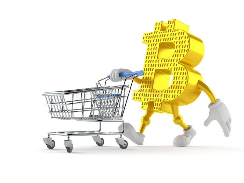 与购物车的Bitcoin字符 向量例证