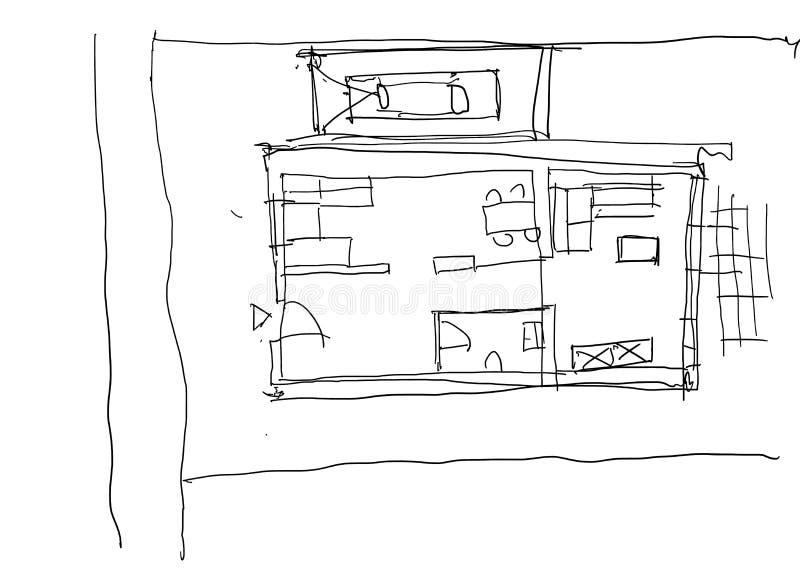 与贷方的手拉的建筑学剪影 向量例证