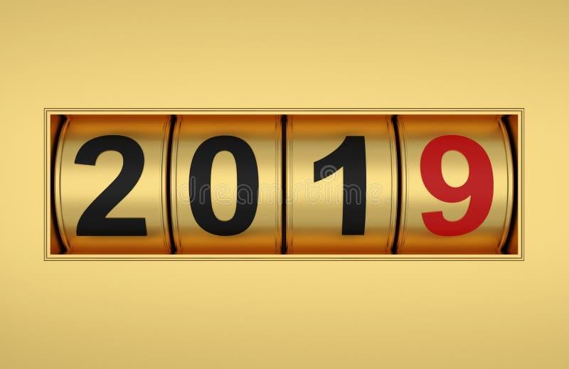与赌博娱乐场概念的新年2019年 向量例证