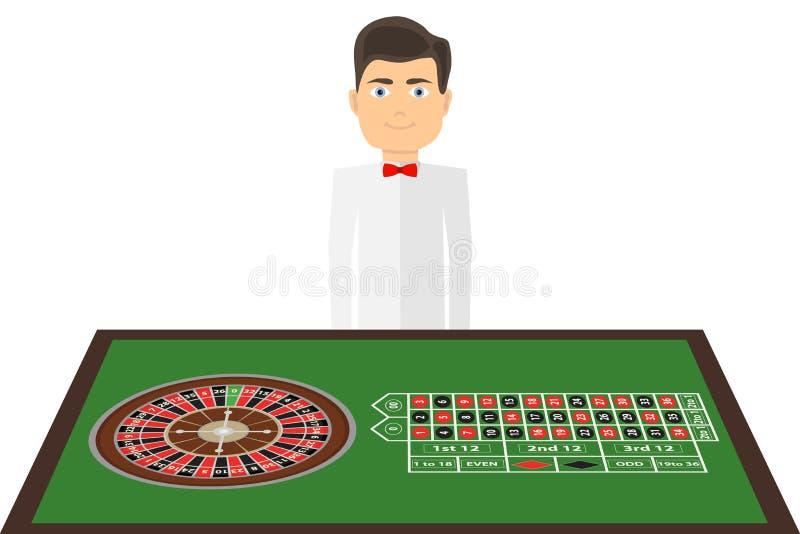 与赌博娱乐场轮盘赌比赛的一张桌 副主持人在与卷尺的桌附近站立 皇族释放例证