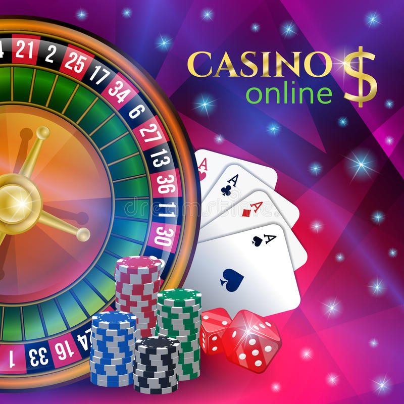与赌博的元素的赌博娱乐场横幅 向量例证