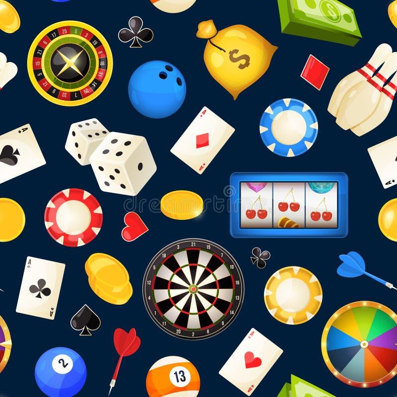 与赌博的和其他赌博娱乐场娱乐的无缝的样式 啤牌,模子传染媒介例证 库存例证