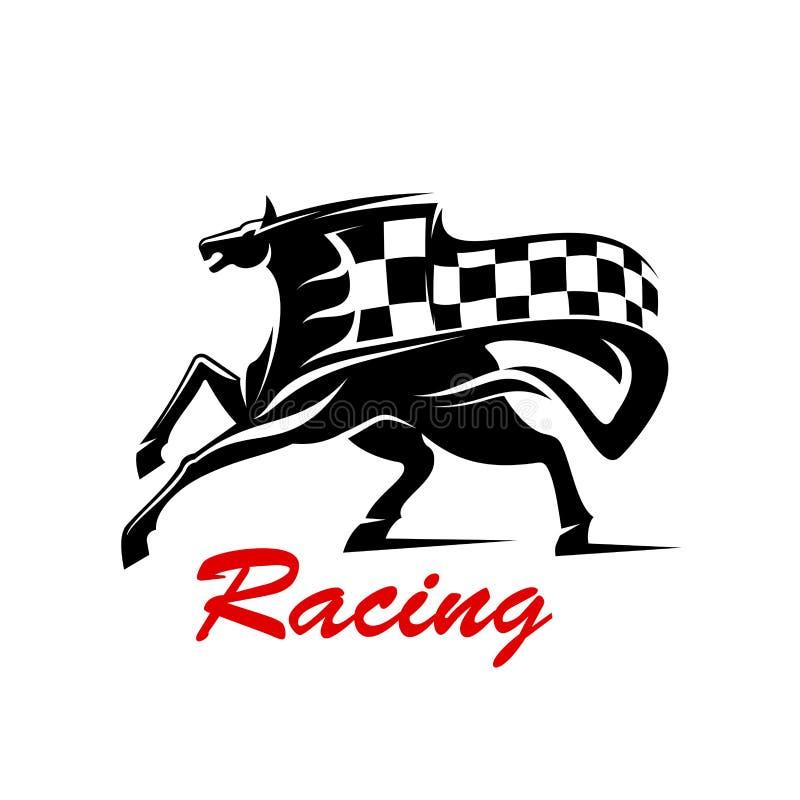 与赛跑旗子的疾驰的马体育的设计 库存例证