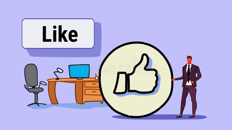 与赞许标志的商人象象成功的社会媒介销售的反馈概念工作场所现代办公室 库存例证