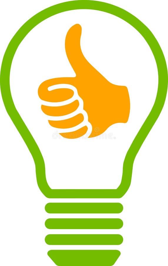 与赞许标志的想法电灯泡 库存例证