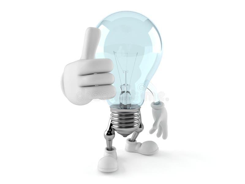 与赞许的电灯泡字符 向量例证
