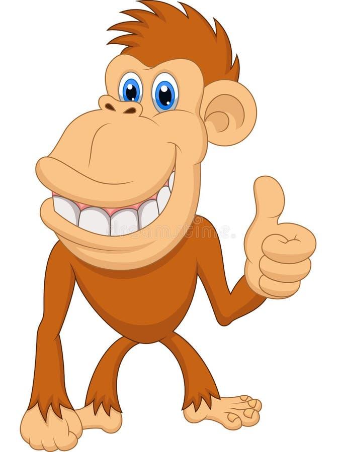 与赞许的逗人喜爱的猴子动画片 向量例证