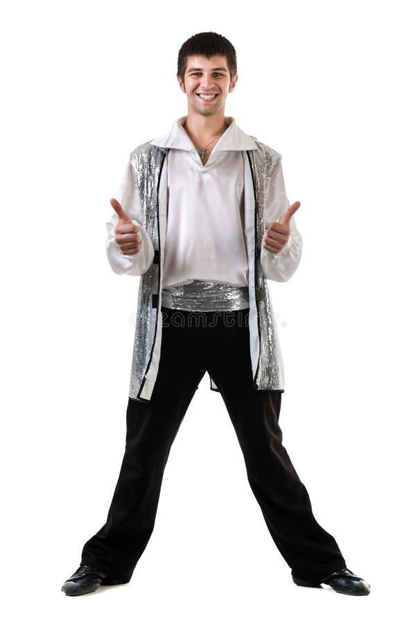 与赞许的年轻和时髦的现代跳芭蕾舞者在全长的白色打手势,隔绝 免版税库存照片