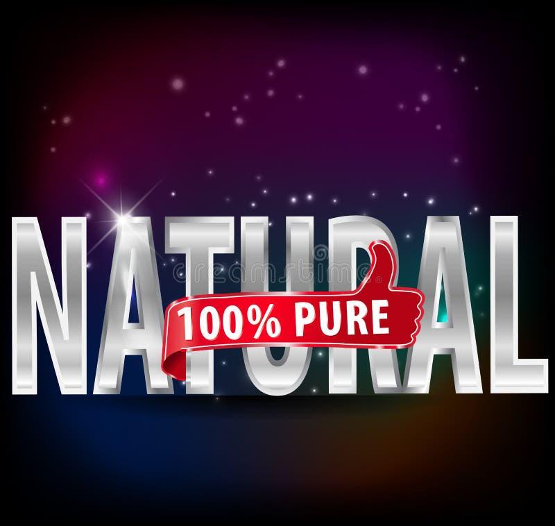 与赞许的100%自然和纯净的银色标签导航eps10 向量例证