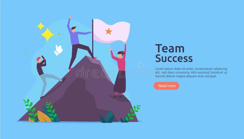 与赢得的旗子的队成功在山顶部 与人字符的配合概念网着陆页模板的, 免版税库存图片