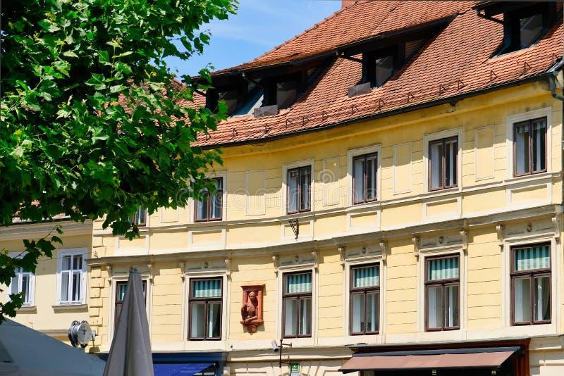 与赤土陶器瓦屋顶,卢布尔雅那,斯洛文尼亚的老公寓 图库摄影