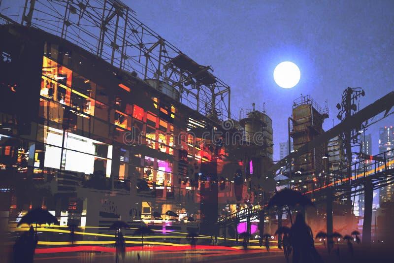 与走在街道上的人的夜场面在城市 库存例证