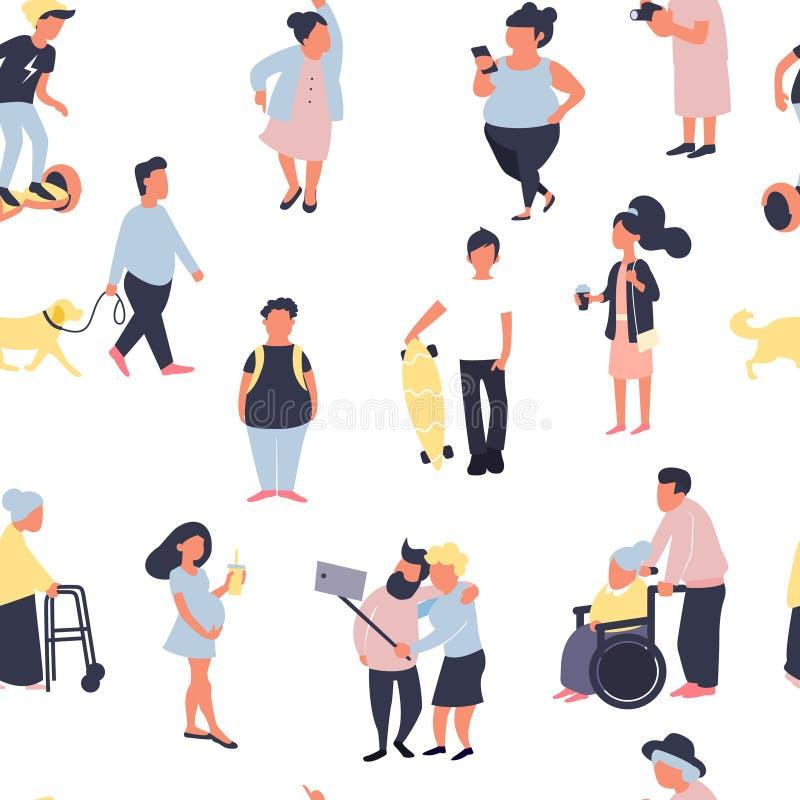 与走在街道上的动画片人的无缝的样式 男性和女性微小的字符人群  五颜六色的向量 库存例证