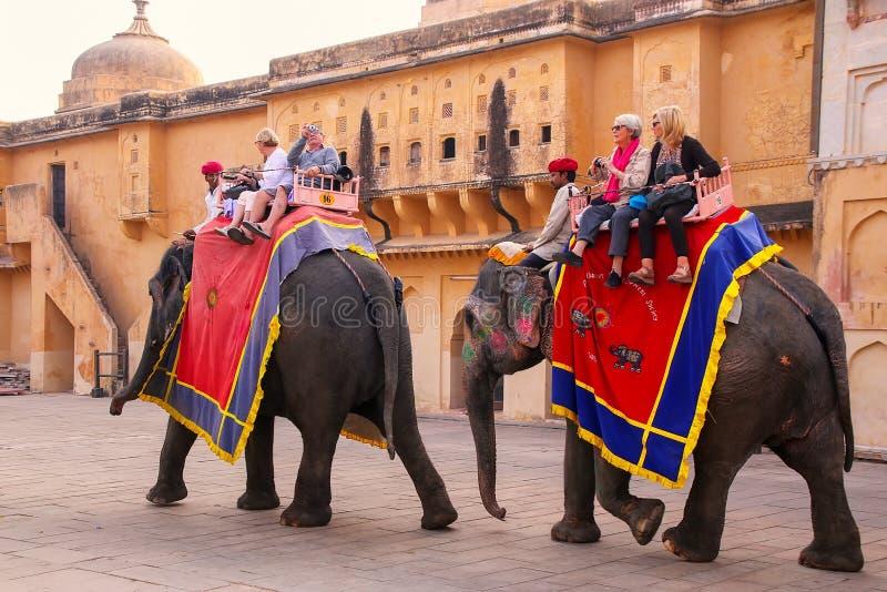 与走在Jaleb Chowk主要c的游人的装饰的大象 免版税库存照片
