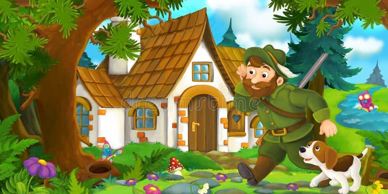 与走往有他的狗的美丽的老房子的猎人的动画片场面 向量例证