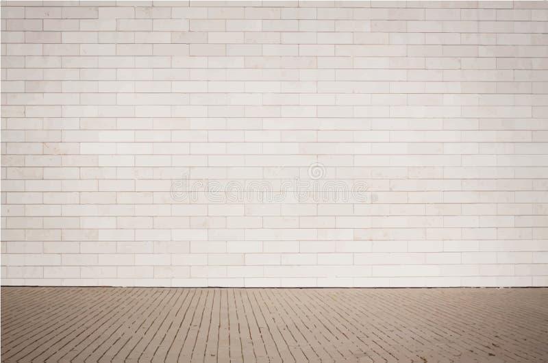 与走道的浅褐色的砖墙纹理 向量例证