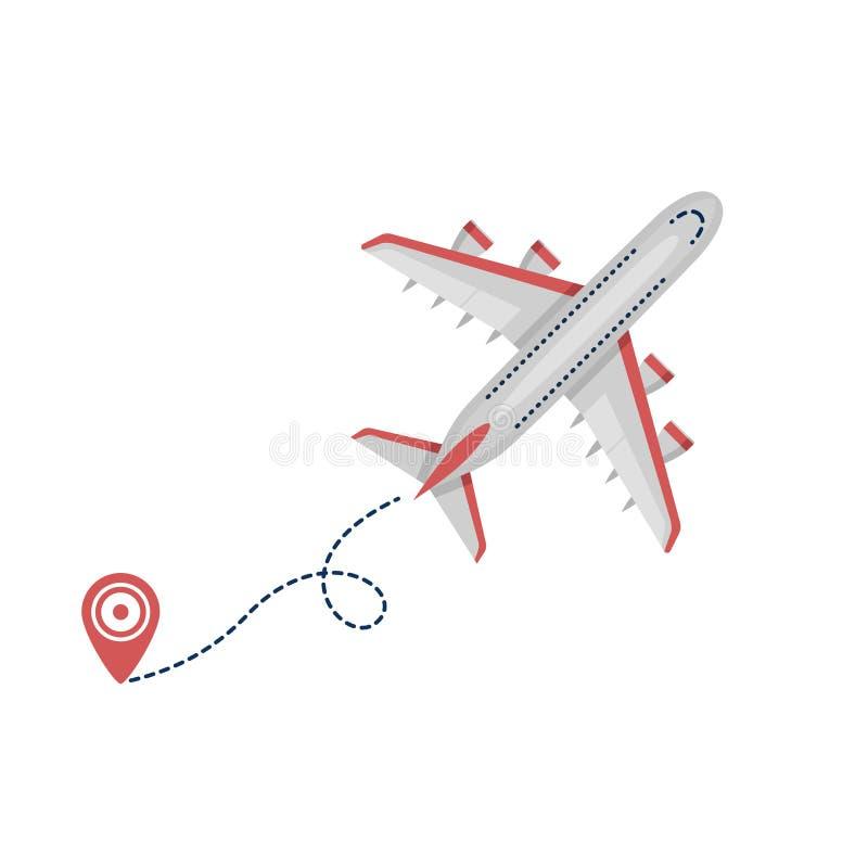 与起动点的飞机平面班机象和在白色背景隔绝的破折号线 平的样式 向量例证
