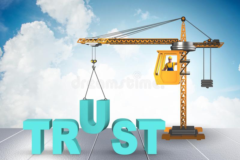 与起重机和词的信任概念 向量例证