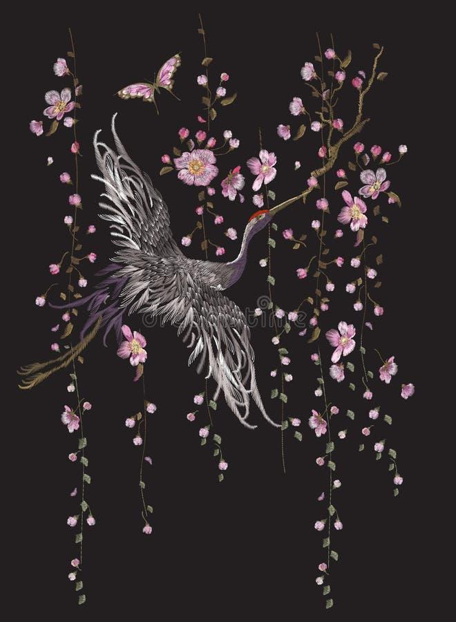 与起重机的刺绣东方花卉样式 库存例证