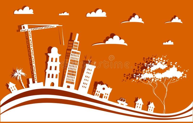 与起重机的城市背景由纸贴纸做成 向量例证