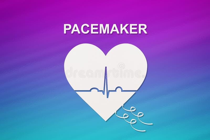 与超声心动图和心脏起搏器文本的心脏形状 心脏病学概念eartbeat图形重点人 库存照片