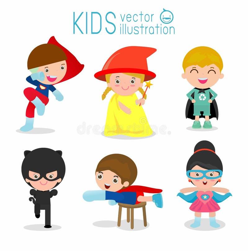 与超级英雄服装的孩子,超级英雄孩子的,超级英雄孩子 向量例证