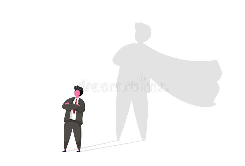 与超级英雄阴影传染媒介概念的商人 志向,成功,刺激,领导,勇气的企业标志 向量例证