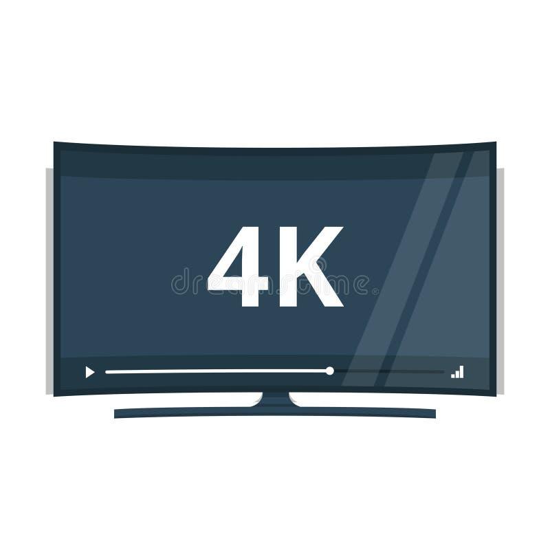 与超4k HD录影技术传染媒介象的平面屏幕电视 皇族释放例证