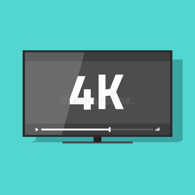 与超4k HD录影,电视显示的平面屏幕电视 库存例证