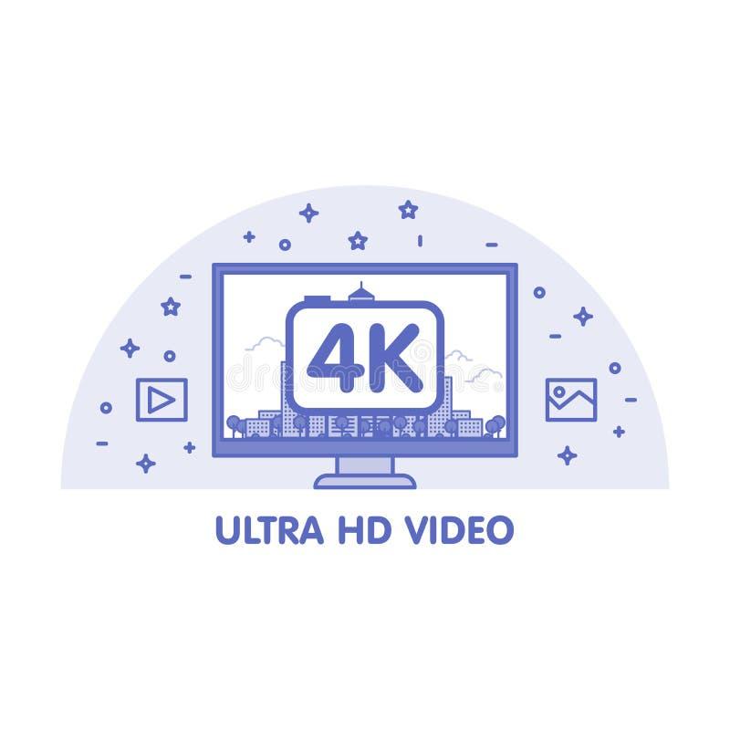 与超HD录影象征的显示器 皇族释放例证