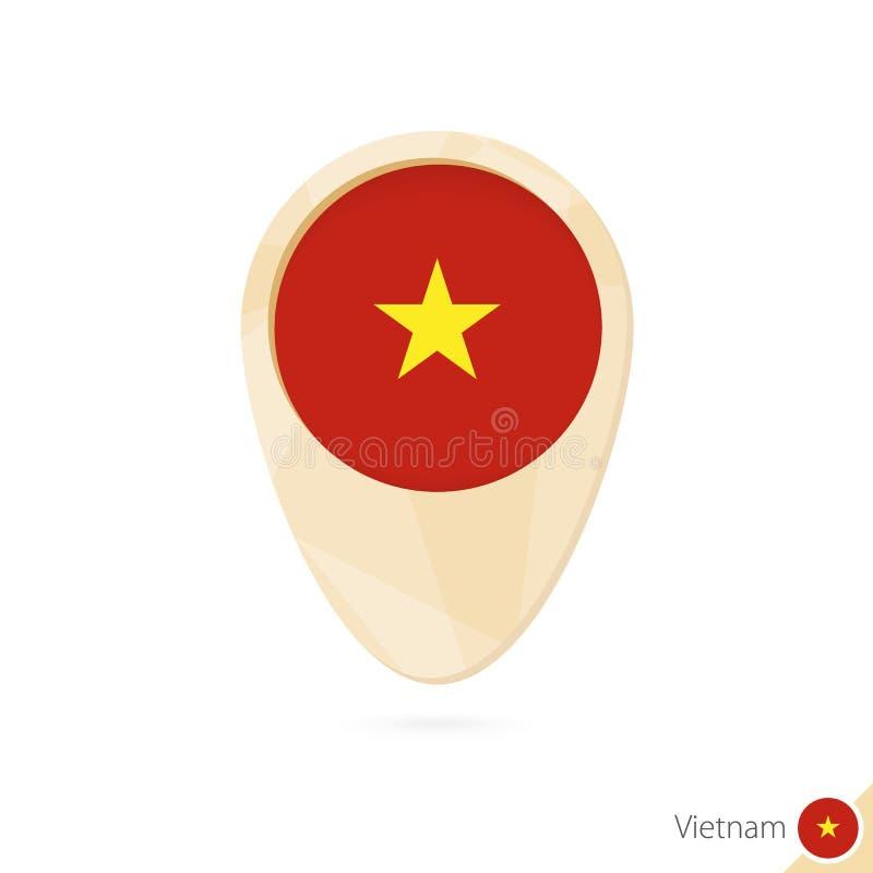 与越南的旗子的地图尖 橙色抽象地图象 向量例证