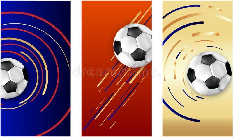 与足球的五颜六色的橄榄球卡片 皇族释放例证