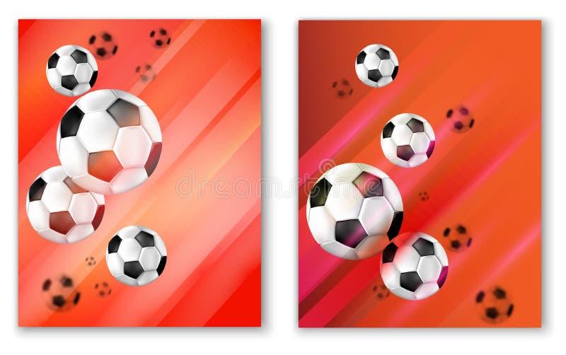 与足球的红色橄榄球卡片 库存例证