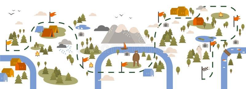 与足迹地图的水平的横幅,远足用旅游区域或小径装饰的路线,野营的地点和 向量例证